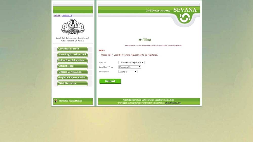 Fill out the online form to register a marriage in Kerala.