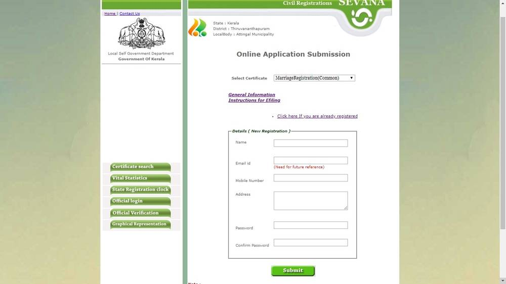 Marriage Registration Process in Kerala is available online.