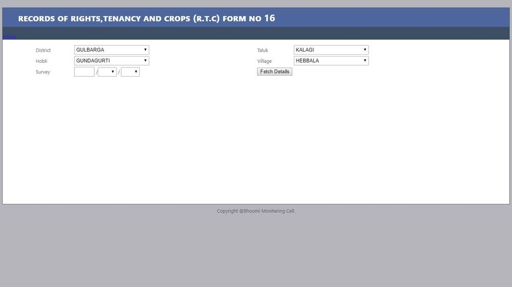 Bhoomi - Karnataka Land Records (RTC) Online - IndiaFilings