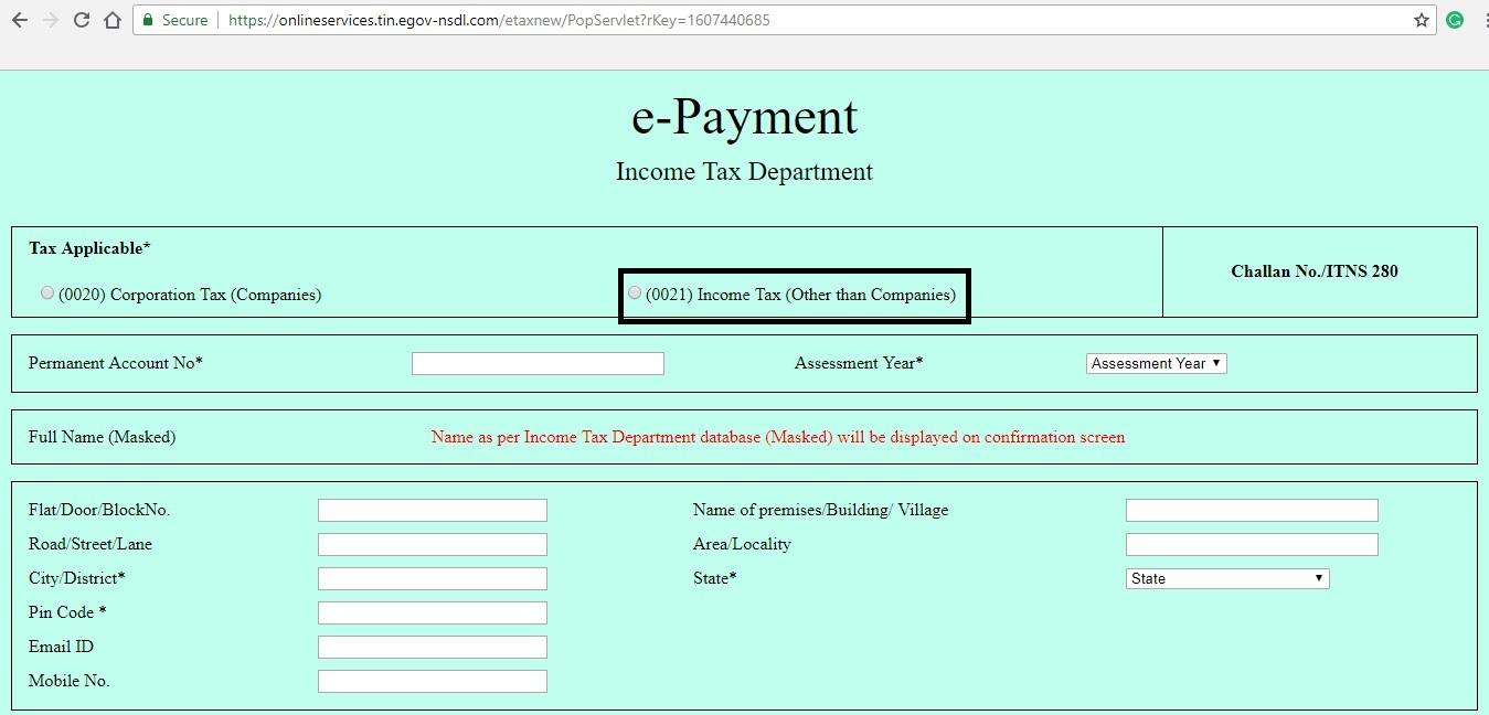 Self-Assessment Tax - E-Payment Procedure - IndiaFilings