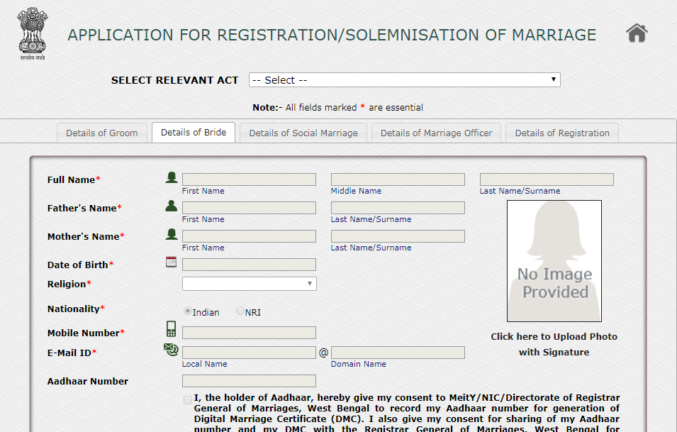 Marriage-Registration-Procedure-in-West-Bengal-Bride-Details