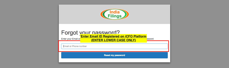 iCFO Password Reset - Step 3