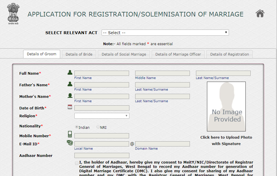 Marriage Registration in West Bengal - Application Procedure