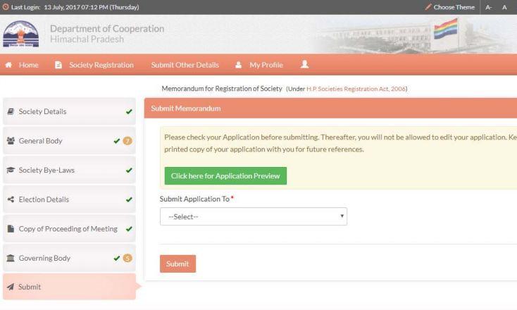 Himachal-Pradesh-Society-Registration-Submit-Application