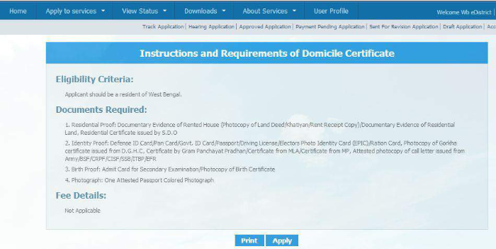 West Bengal Domicile Certificate - Application Procedure