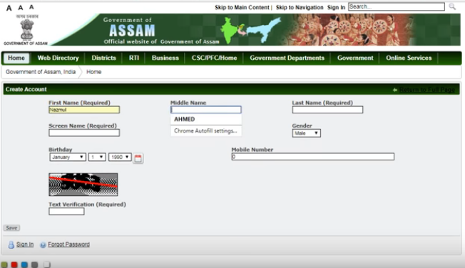 Assam-Caste-certificate-account-Creation