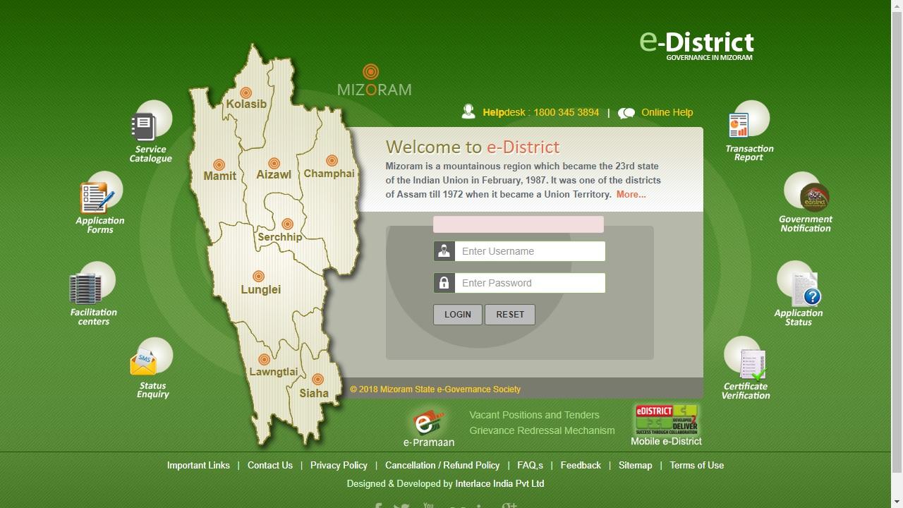 Mizoram-Income-Certificate-Home-Page