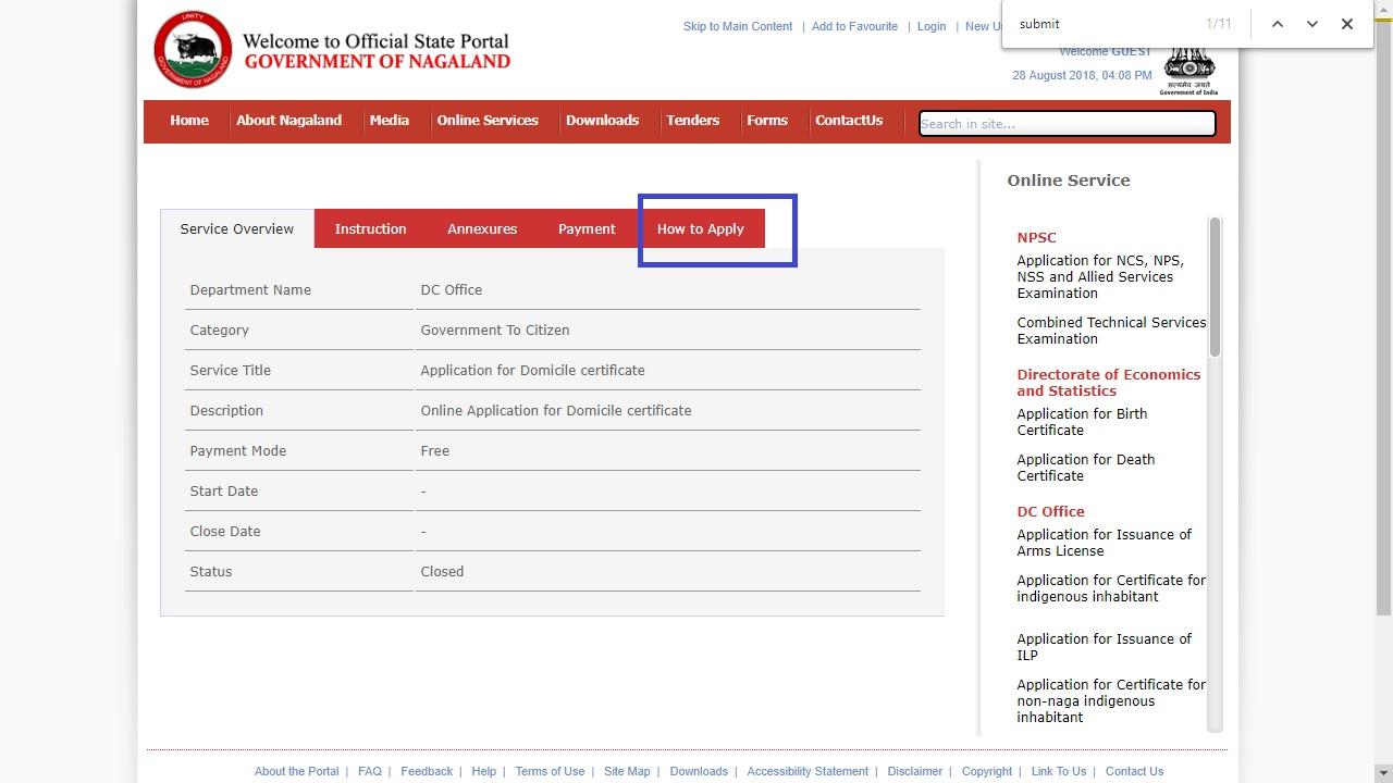Nagaland-Domicile-Certificate-Apply-Online