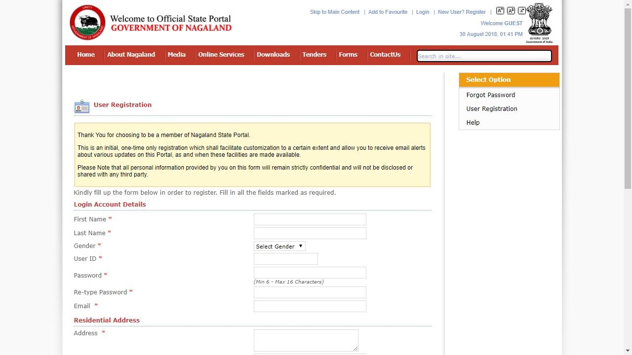Nagaland-Tribe-Certificate-User-Registration-Details