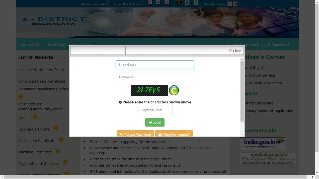 Meghalaya-Permanent-Residence-Certificate-Login-into-Portal