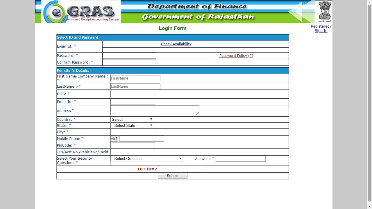 Login-Form-Rajasthan-Property-Registration