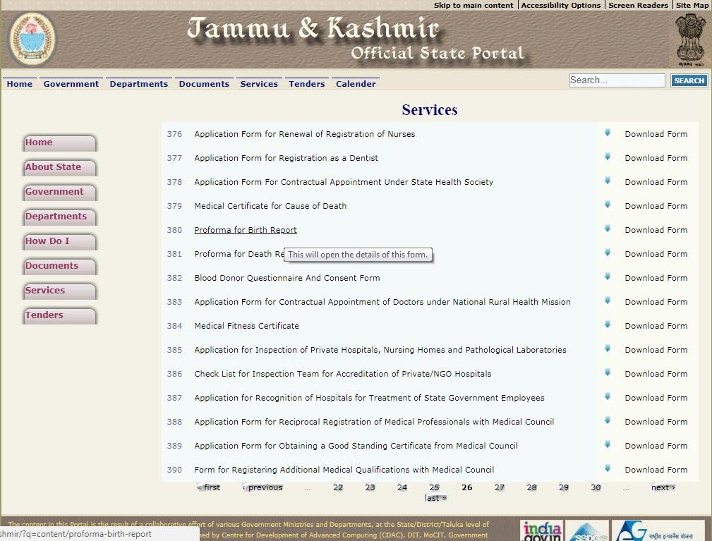 Jammu and Kashmir Birth Certificate - Application - IndiaFilings
