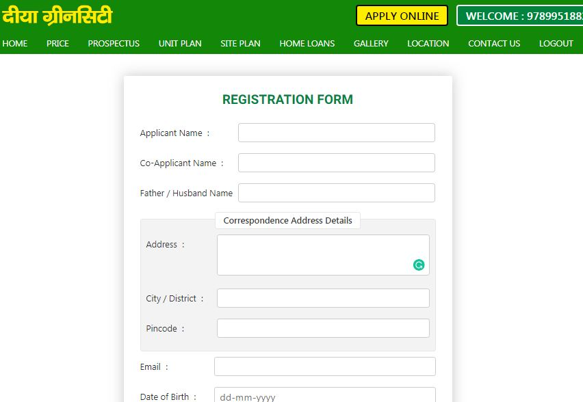 Registration-Form-Diyagreen-City-Affordable-Housing-Scheme