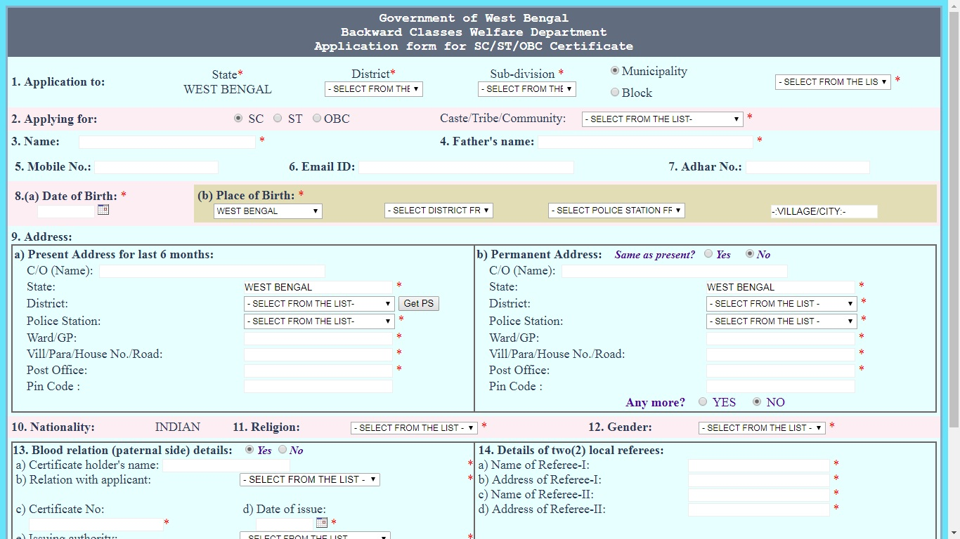 online application form for scheduled caste certificate in west bengal