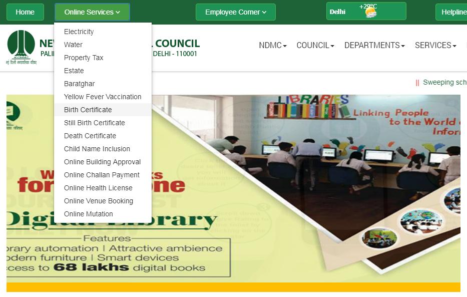 Delhi Birth Certificate - Online Application Procedure
