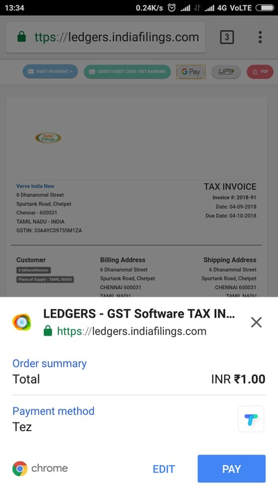 Google Pay - Payment Gateway on LEDGERS - IndiaFilings