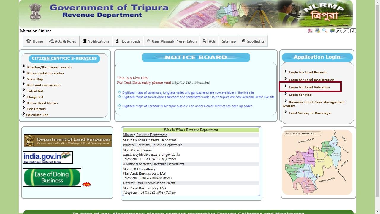 Tripura Land Valuation Certificate - Application Process