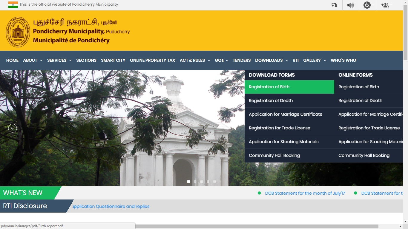 Pondicherry-Birth-Certificate-Download-Form