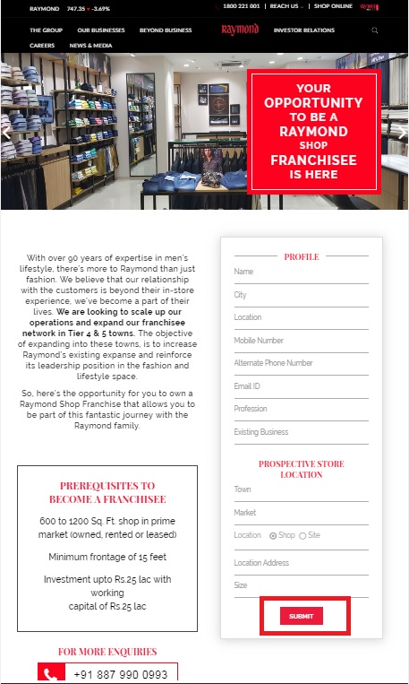 Raymond Franchise Application Form. 2