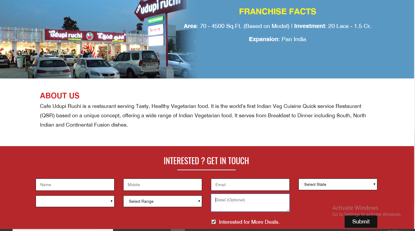 Cafe Udupi Ruchi Franchise Enrollment