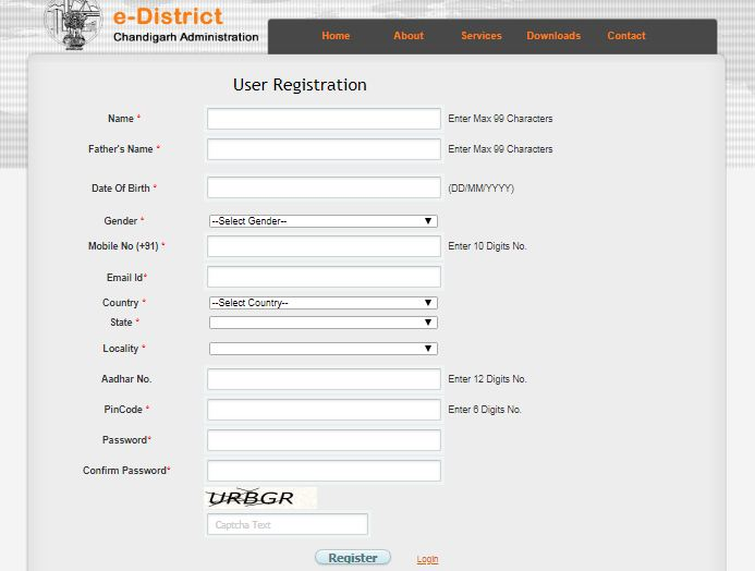 Chandigarh-Death-Certificate-User-Registration