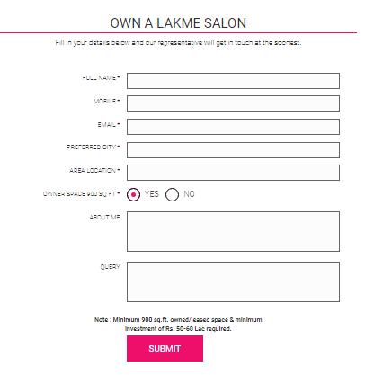 Application Form Lakme Franchise