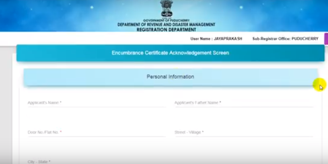 Puducherry-Encumbrance-Certificate-Application-Form