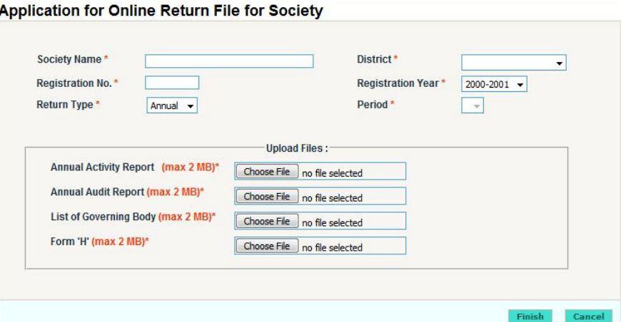 Return Filing for Society