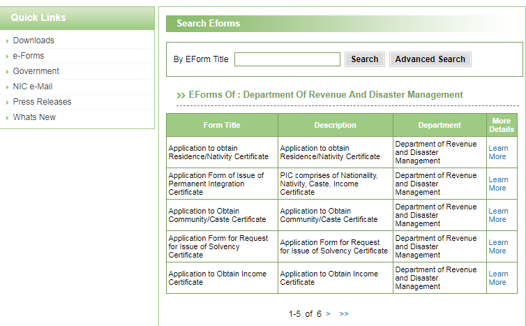 Puducherry-Residence-Certificate-Search-e-Forms