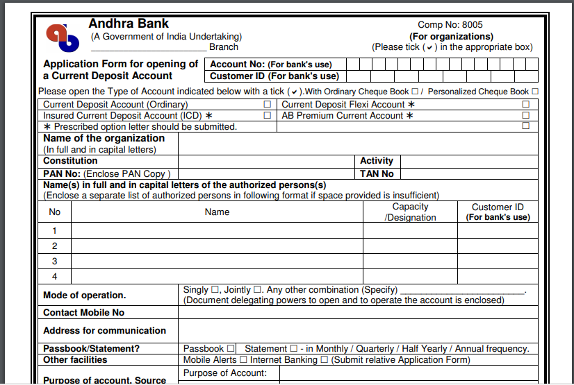 andhra bank deposit form  Andhra Bank Current Account - Eligibility & Types - IndiaFilings
