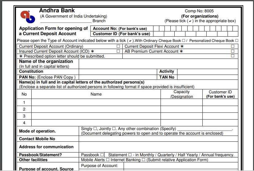 Andhra Bank Current Account