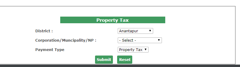 Andhra Pradesh Property Tax - Online Payment