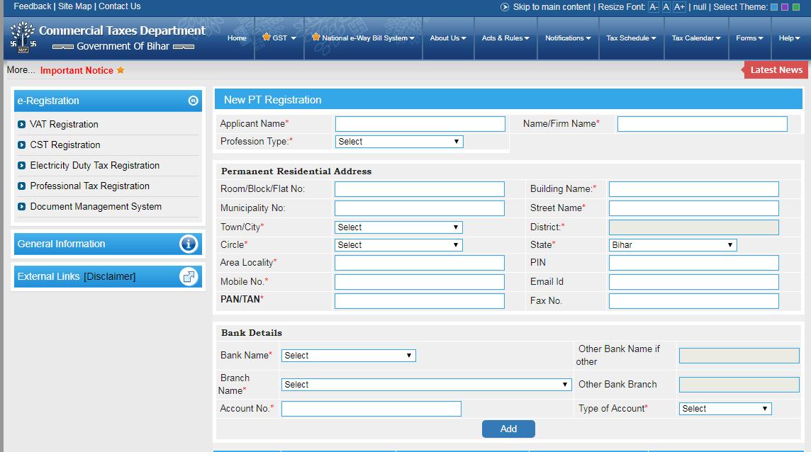 Bihar Professional Tax - Online Registration Procedure