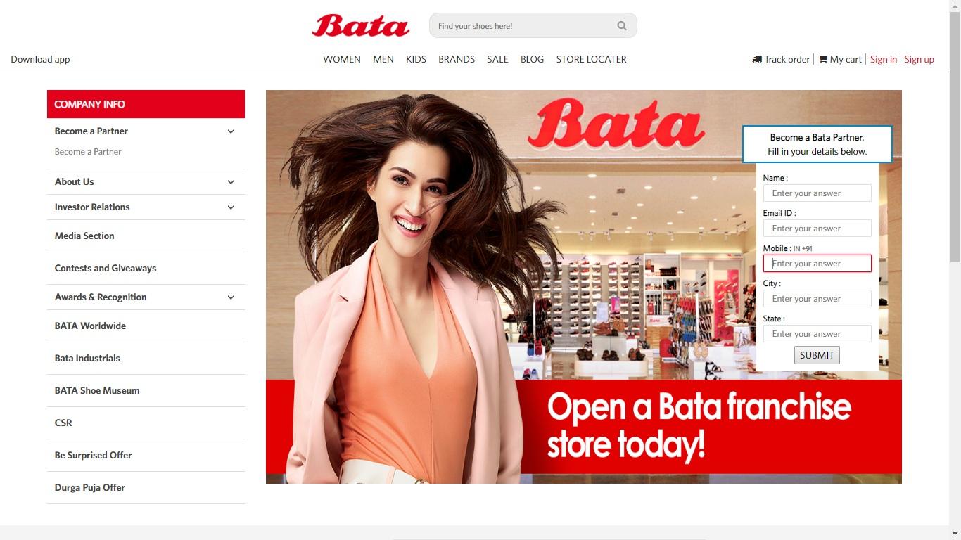 Bata Franchise Online Application Form