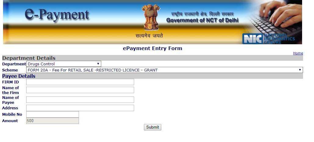 Delhi Drug License - e-Payment