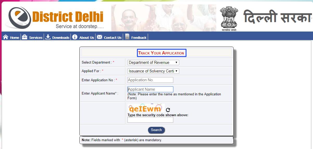 Delhi-Solvency-Certificate-Track-Application-Status
