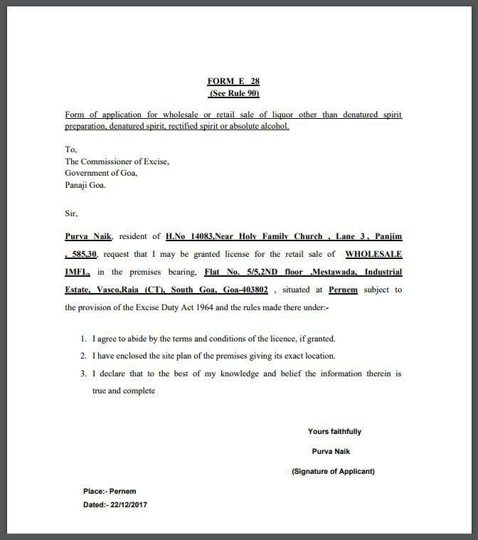 Form E28 - Liquor License in Goa