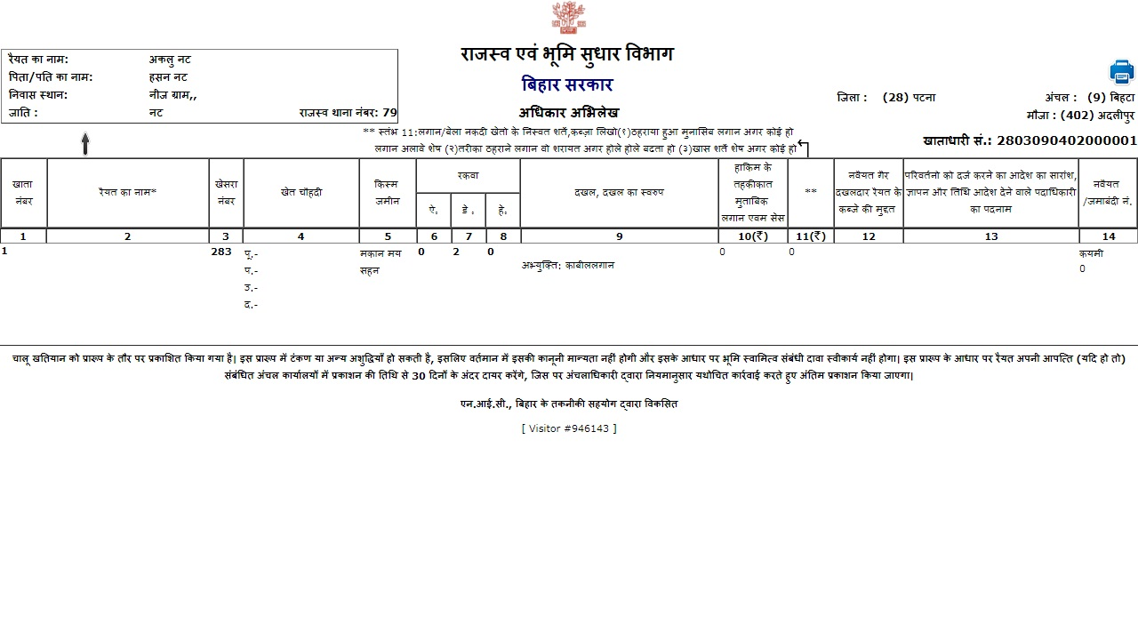 Image 6 Bihar Records of Rights