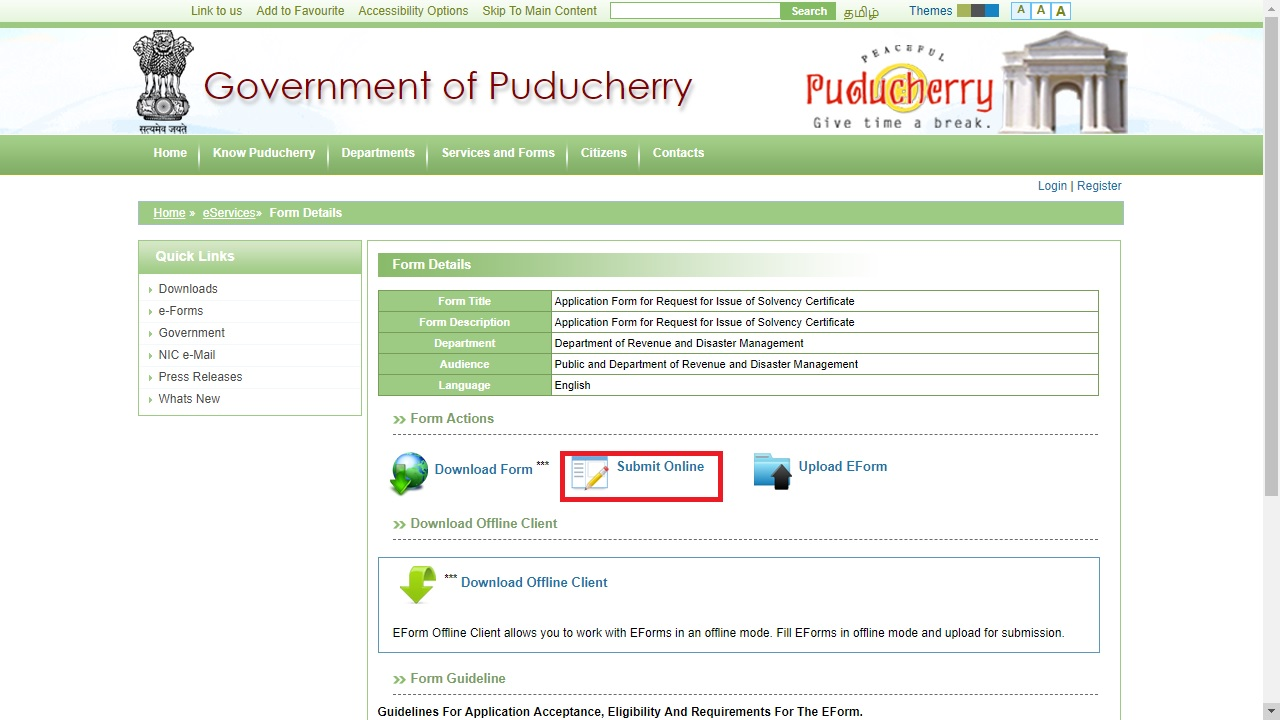 Puducherry-Solvency-Certificate-Submit-Online
