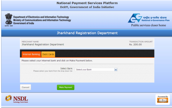 Jharkhand Non-Encumbrance Certificate Payment