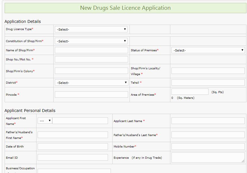 Madhya Pradesh Drug License - Drug Sale license application form