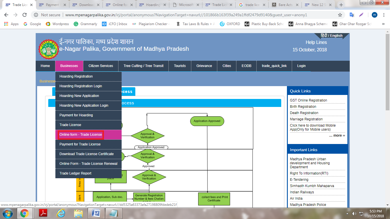 Madhya Pradesh Trade License Online Form
