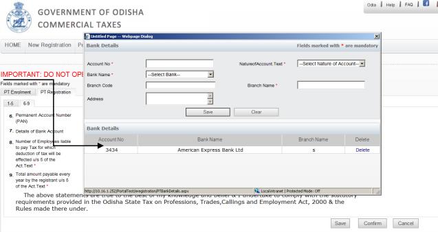 Odisha Professional Tax - Bank Details