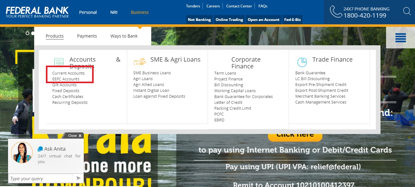 Step 3- Federal Bank Current Account