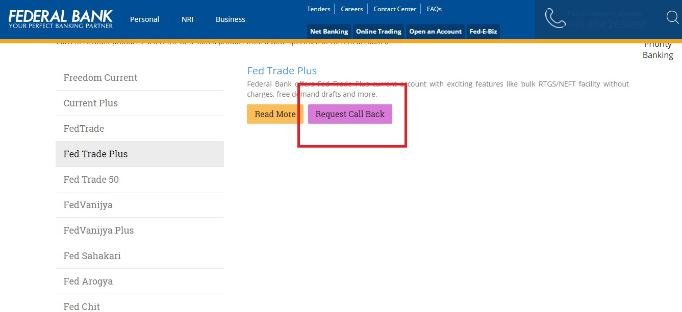 Step 5- Federal Bank Current Account
