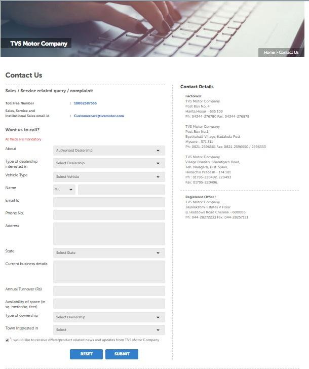TVS Dealership Online Application Form