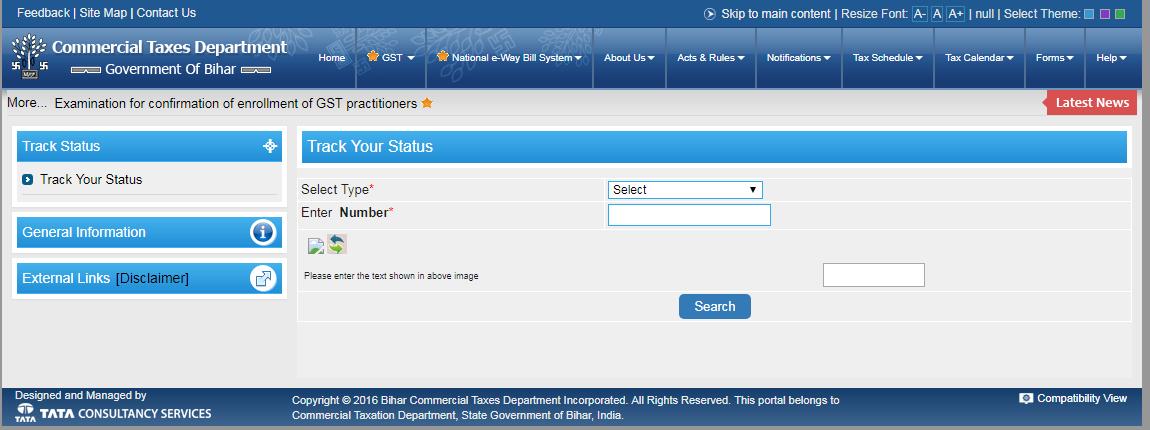 Track Status - Bihar Professional Tax