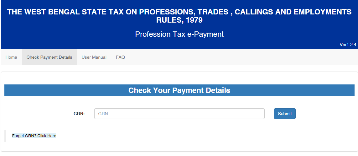 West Bengal Professional Tax- Check Payment Details
