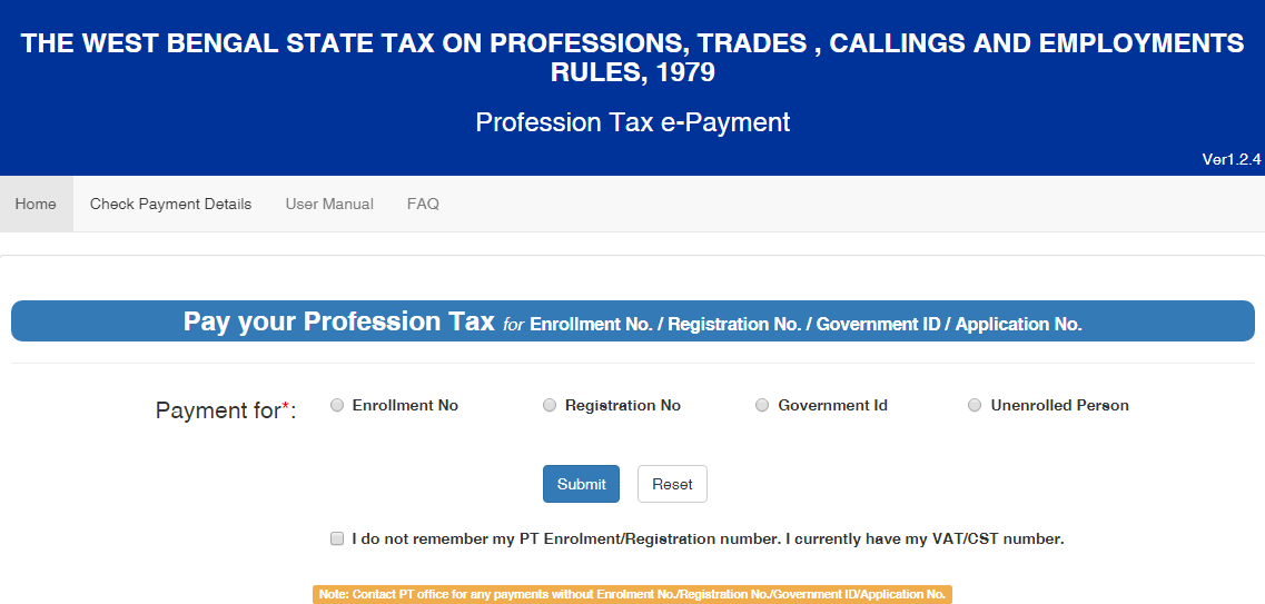 West Bengal Professional Tax- e-Payment