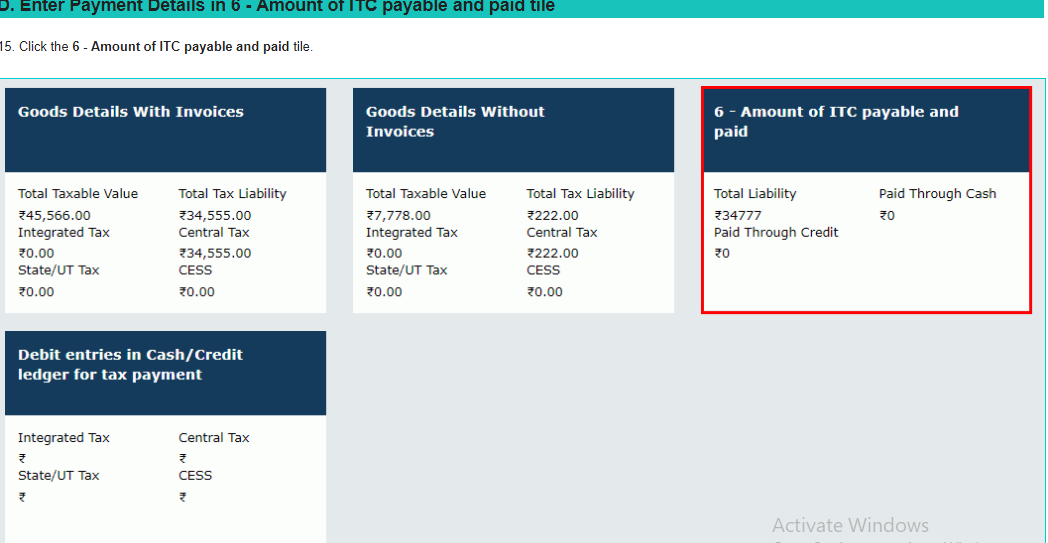 Amount of ITC Payable and Paid